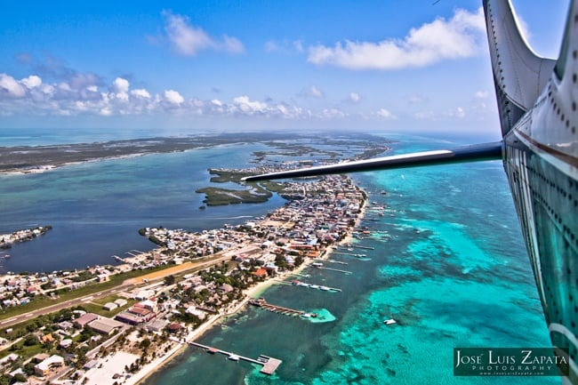 Aerial shot of Ambergris Caye