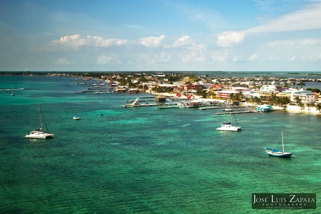 aerial perspective of Ambergris Caye, Belize