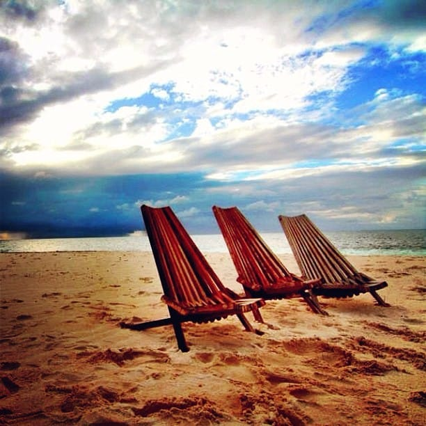 Beach chairs in Belize