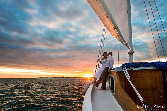 Sunset Sailing Belize Wedding