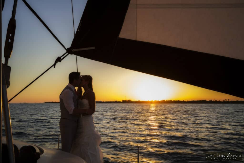 Catamaran wedding in belize