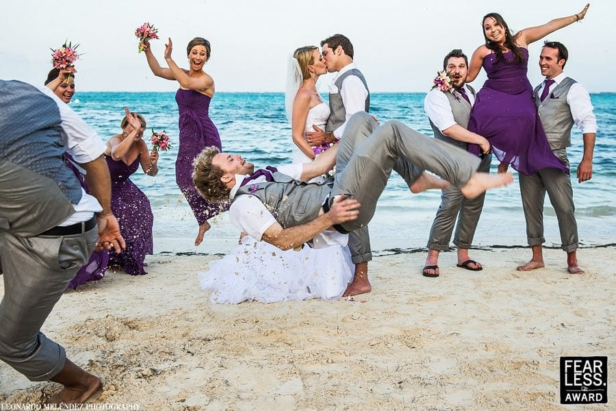 Jumping wedding photo belize