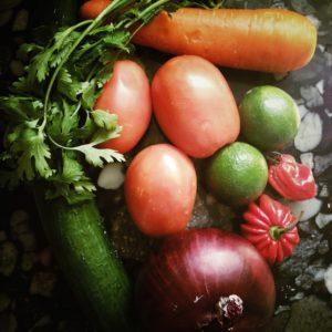 fresh vegetable ingredients for Belize salsa